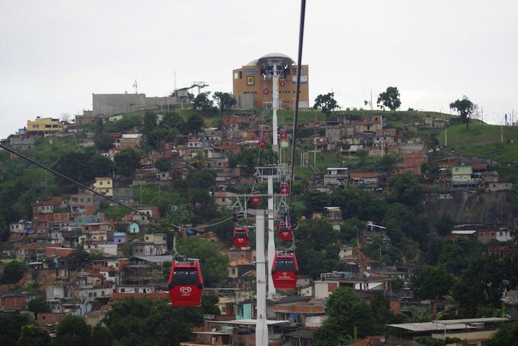 A station for Complexo do Alemão's cable-car system in Rio de Janeiro, Brazil
