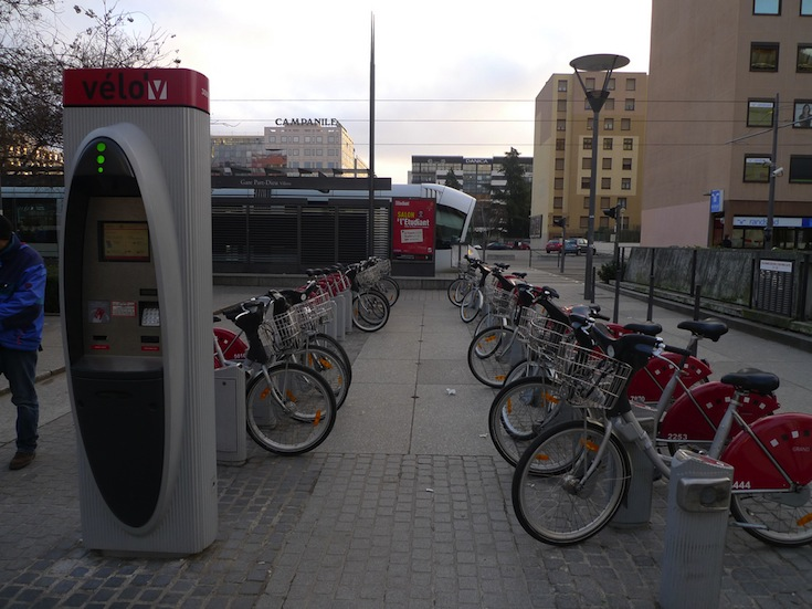 A Vélo'v rental station in Lyon, France