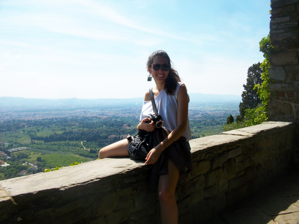 Me  and my camera above the fields of Tuscany, Italy, Marilena Mela