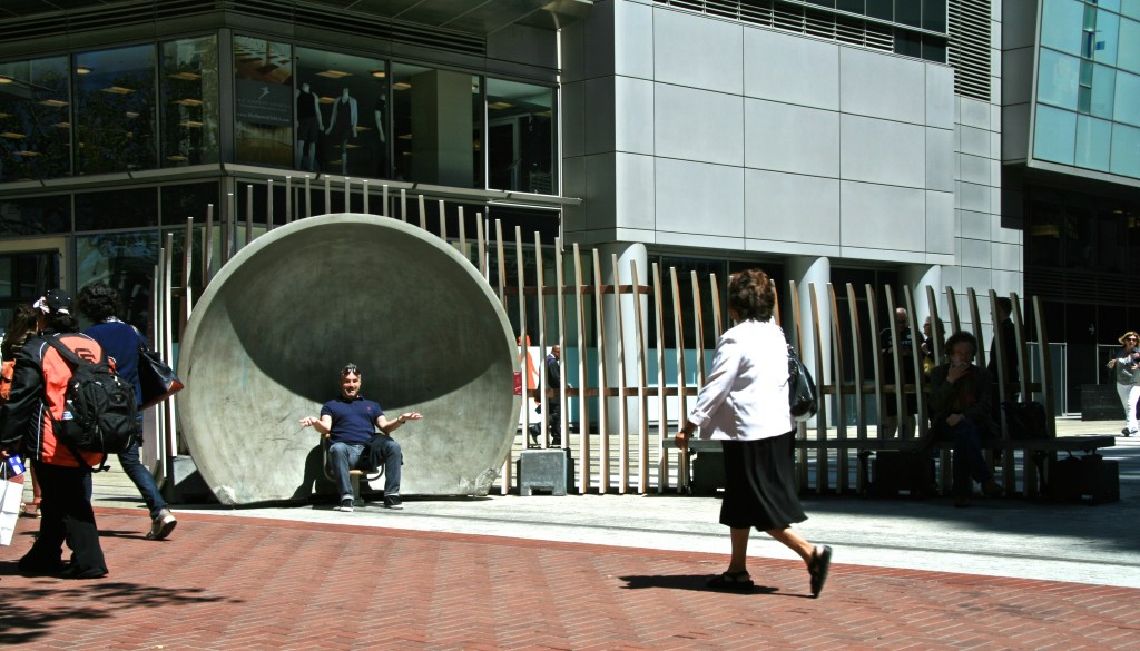 Public using LIZ (PAUSE) Installation, San Francisco, California