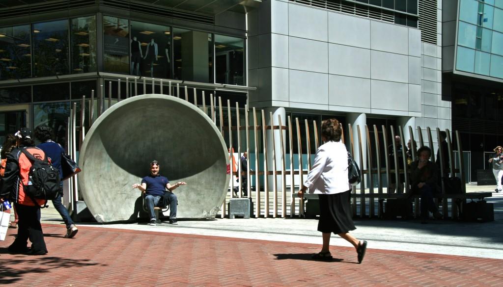 Public using LIZ (PAUSE) Installation, San Francisco, California