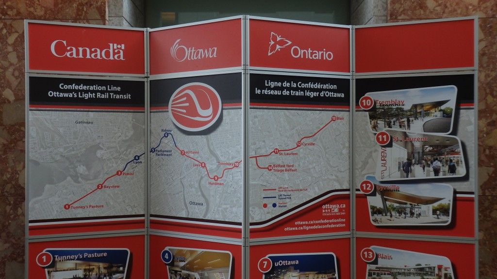 Display map of Confederation line, Ottawa Canada