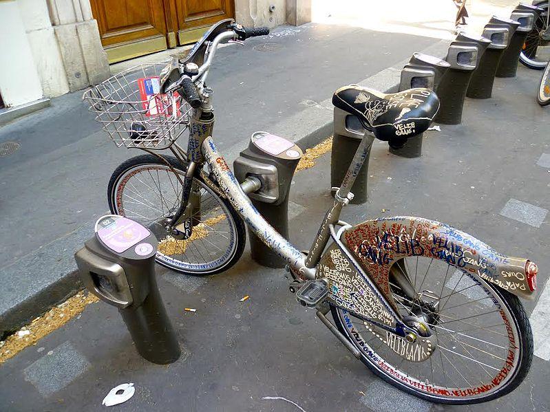 Vandalized Vélib in Paris, France