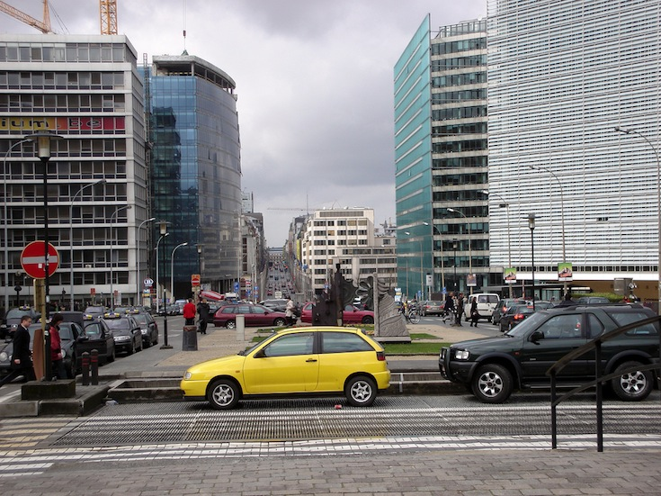 The busy European District of Brussels, Belgium