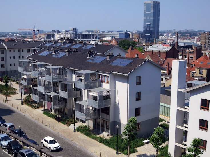 New housing buildings in the Marolles neighborhood of Brussels, Belgium