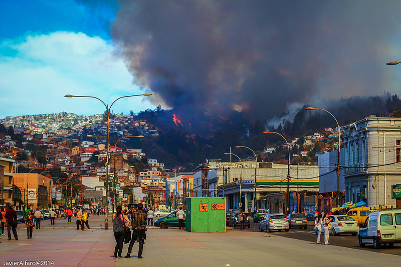 A scene from the mega fire that engulfed the city of Valparaiso, Chile