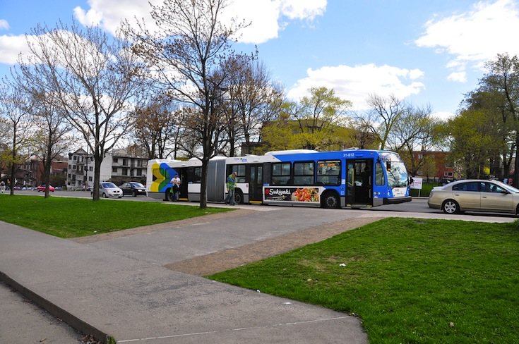 A bus on Pie-IX Boulevard in Montreal, Canada