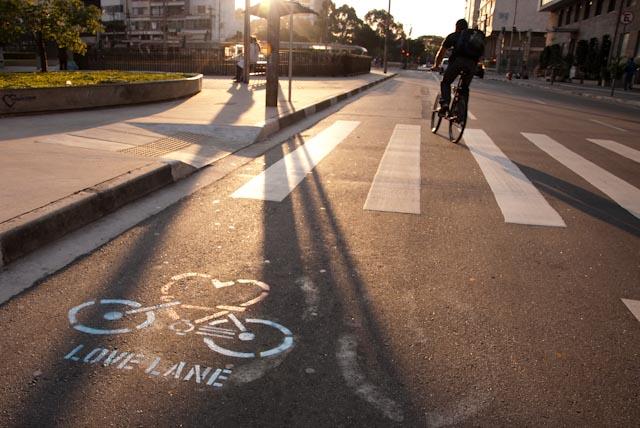 An example of a bike lane in Sao Paulo, Brazil