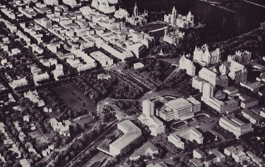 Image from Gréber plan, showing an earlier proposed model of Ottawa, Canada from 1938