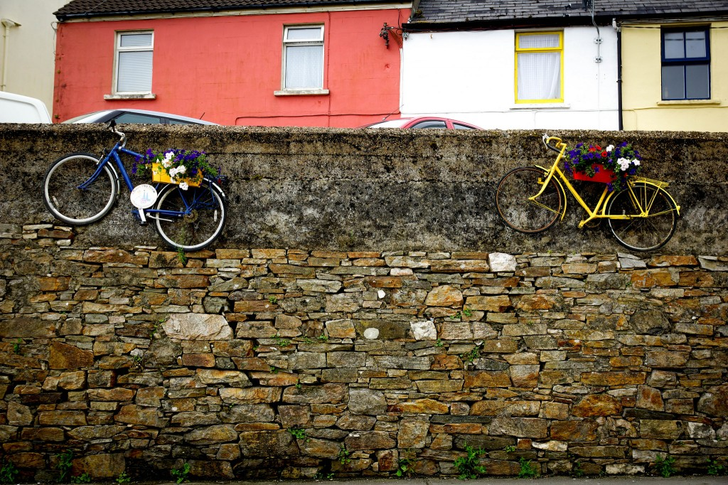 Clifden, Galway, Ireland bikes on the wall