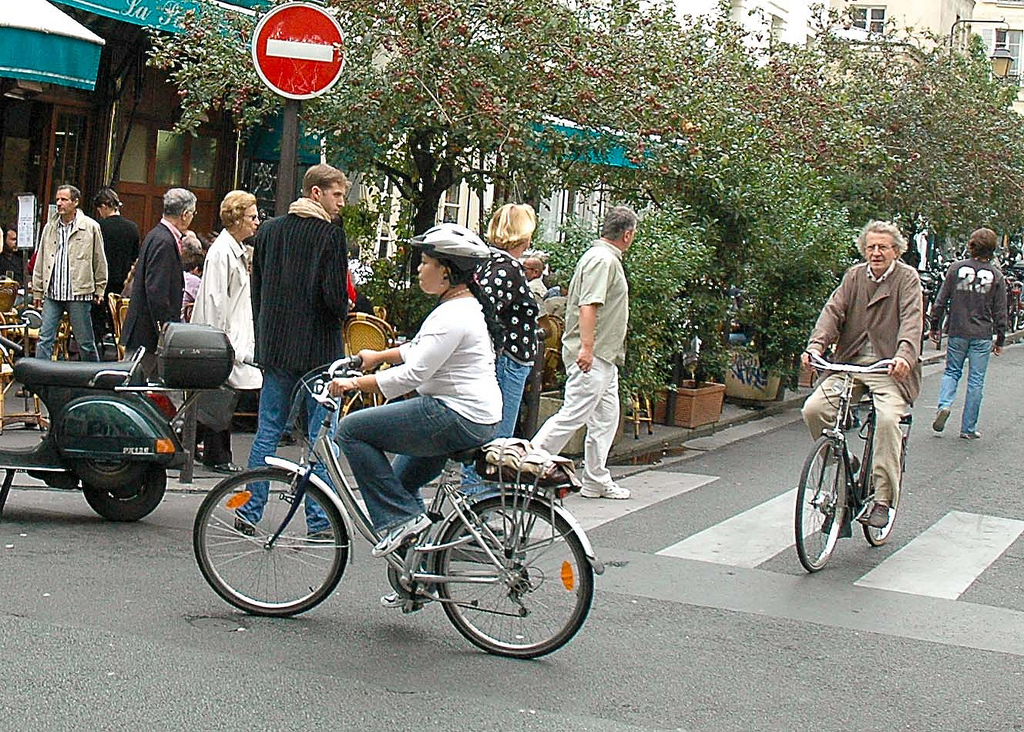 Bicyclist in Paris, France