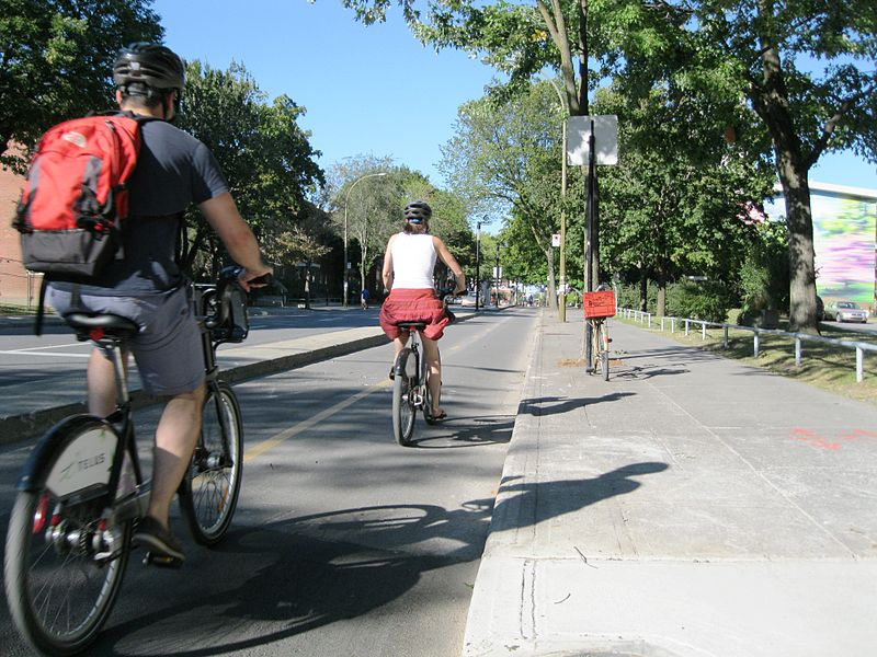 Biking on Piste Claire Morrisette in Montreal, Canada