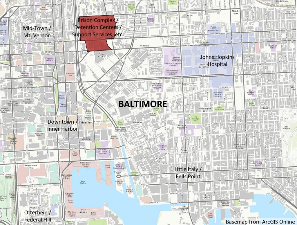 Map of Baltimore Prison Complex in Baltimore, Maryland