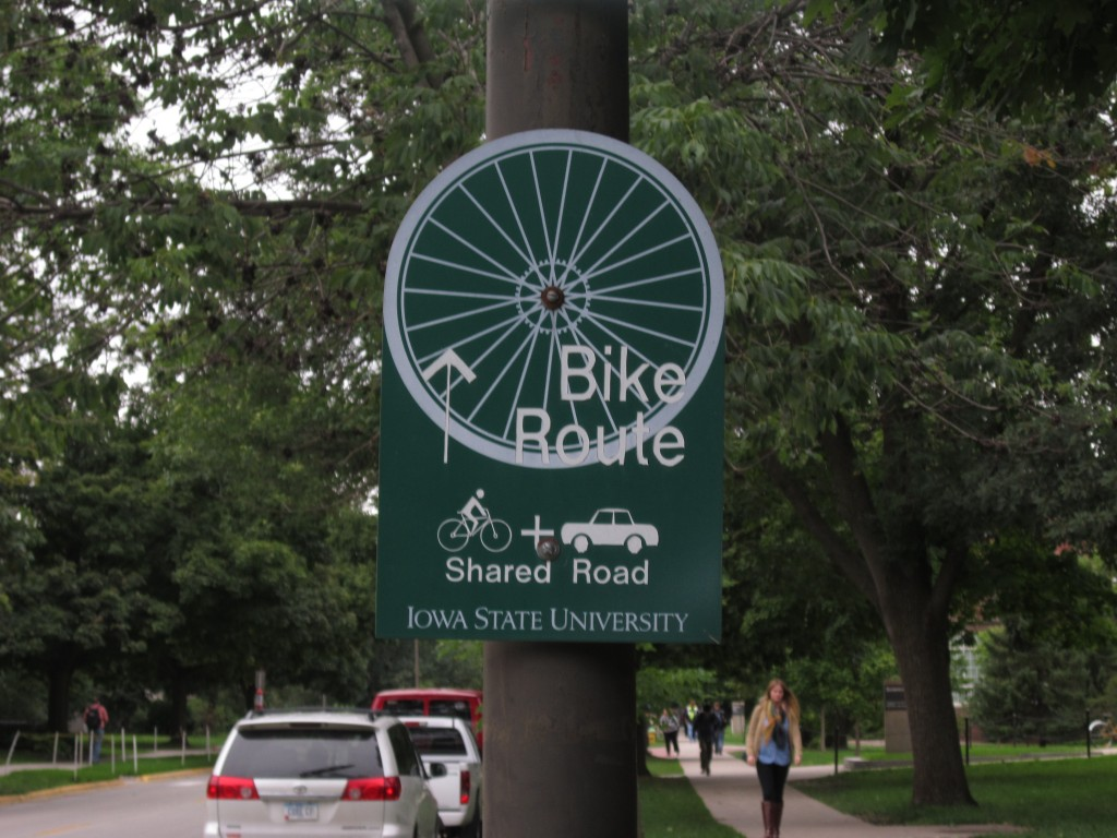 Bicycle signage in Ames, Iowa