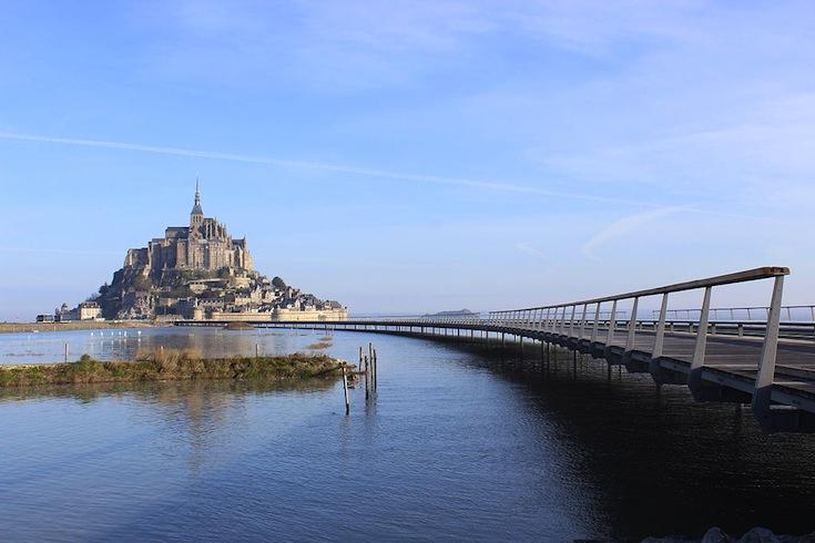 The new Mont Saint-Michel bridge in Normandy, France.  Photo credit: Mathias Neveling.