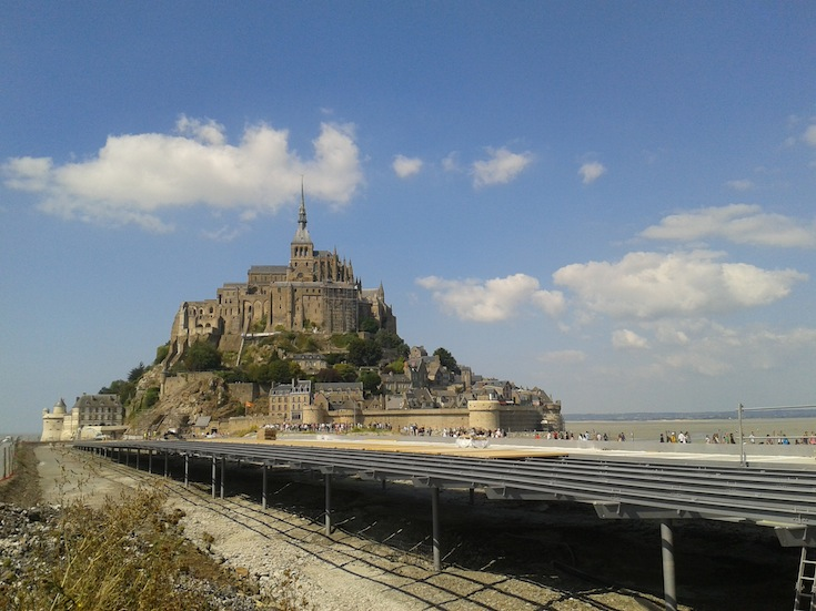 The new walkway leading to the island of Mont Saint-Michel, Normandy, France