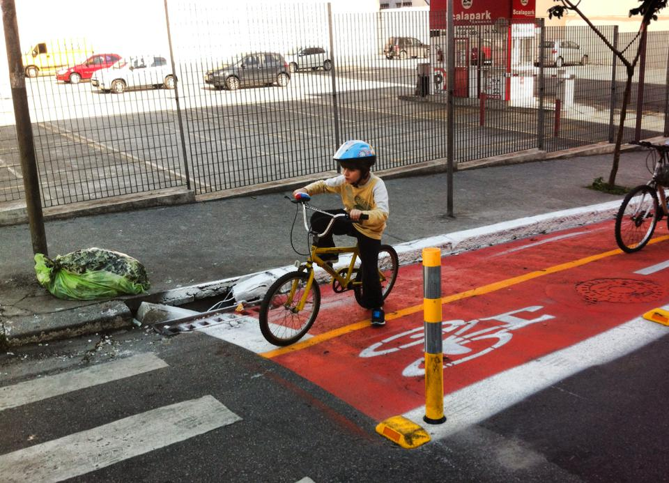 An example of bike lanes in Sao Paulo that are regularly used by local children, Sao Paulo, Brazil