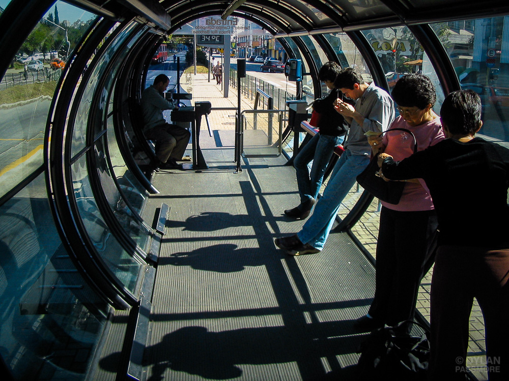BRT users waiting in the station, Brazil.