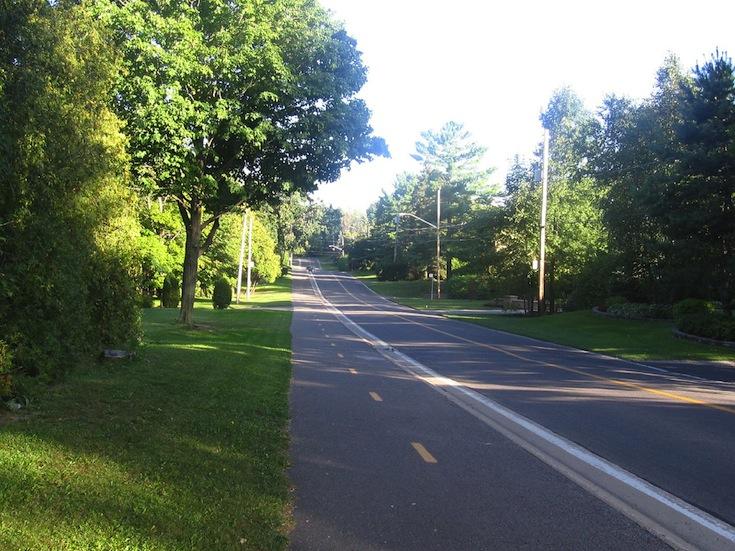A bike path in Laval, Canada