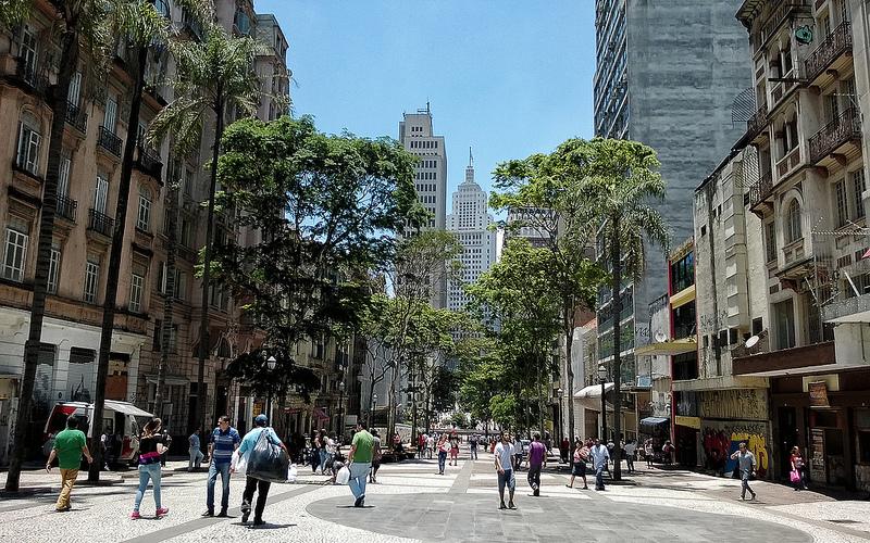A pedestrian walkway in Sao Paulo, Brazil