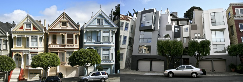 Painted Ladies and Modern home, San Francisco, California.
