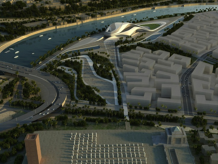 A digital image of the future Grand Theatre and also developments in downtown Rabat, Morocco