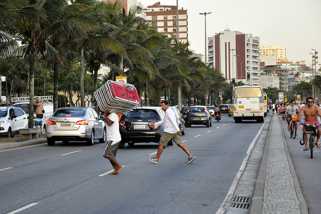 A view of the traffic in Brazil, with the many forms of transportation included.