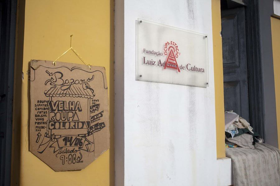 A sign of the occupation of the historical railway station in Bahia, Brazil