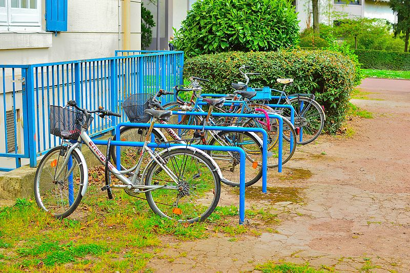 Paris, France bicycles and bicycle rack parking