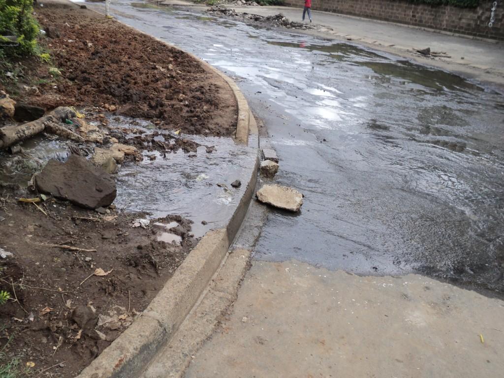 A leaking sewer after heavy rains in Nairobi, Kenya