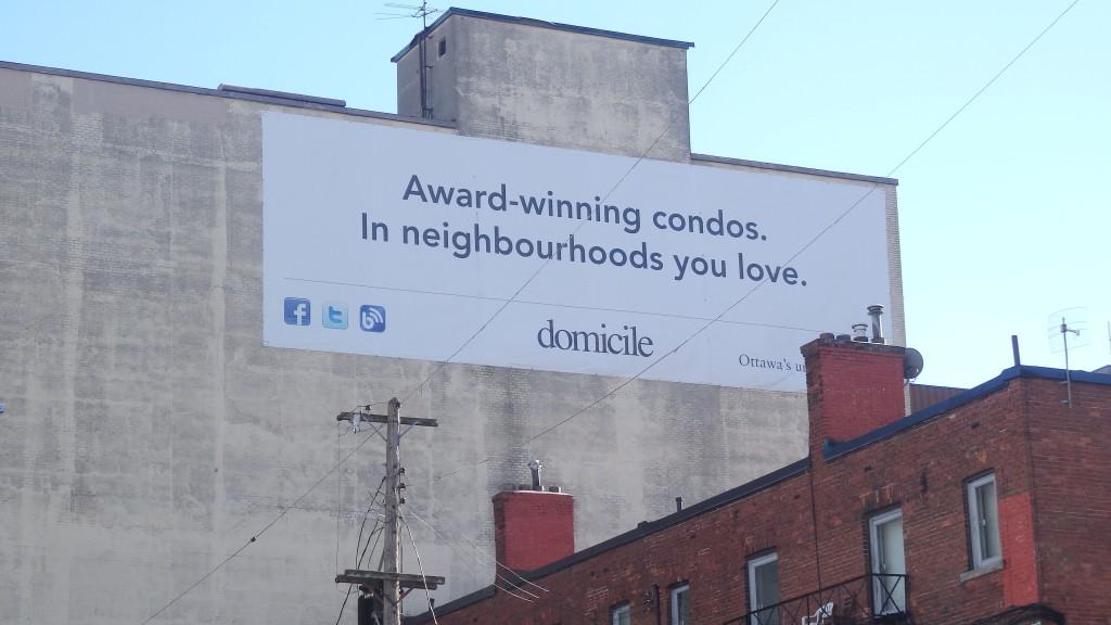 Ottawa condo advertisement on building, Canada