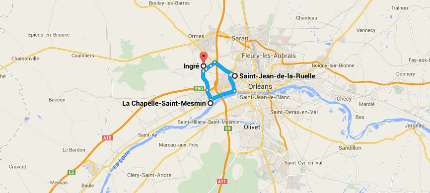 Ingré, La Chapelle-Saint-Mesmin, and Saint-Jean-de-la-Ruelle, France shown on a map indicating their locations in relationship to one another
