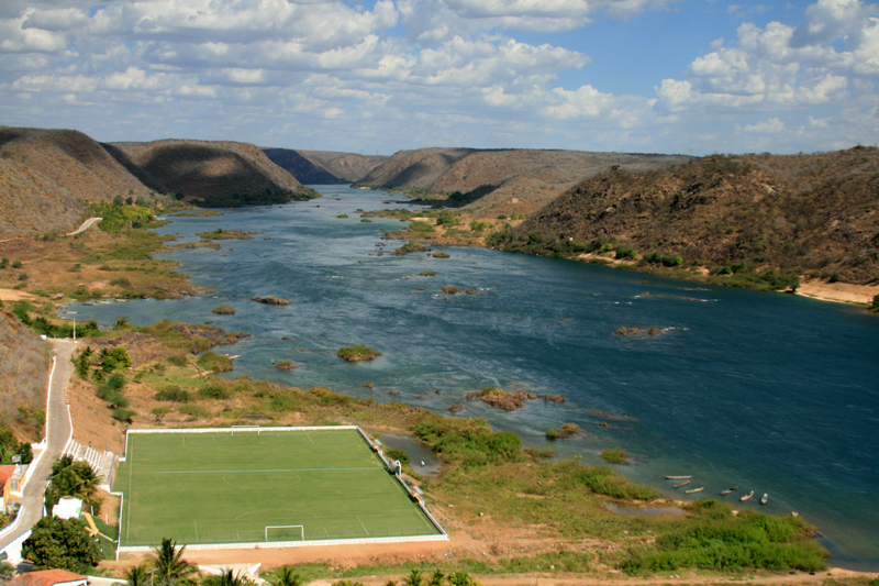 The Sao  Francisco river, during less dry times, Brazil.