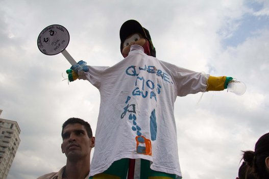 A member of the MTST demonstration for water rights, Sao Paulo, Brazil