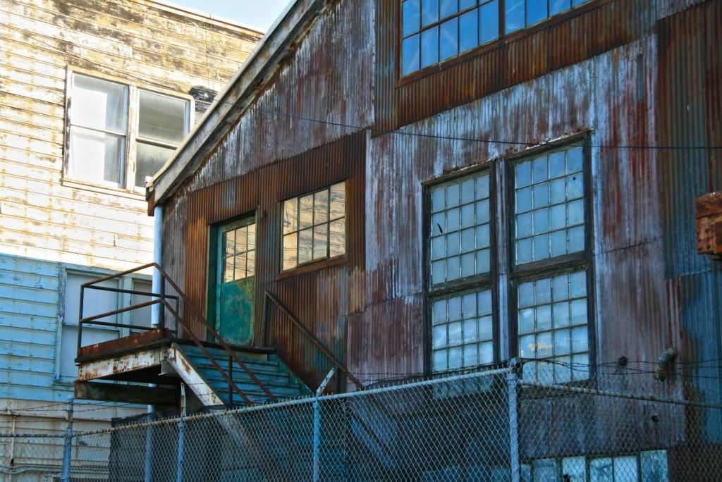 Pier 70 warehouse facade, San Francisco, California.