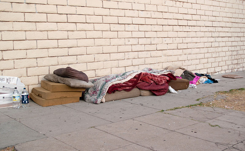 Bed of a homeless person in Los Angeles