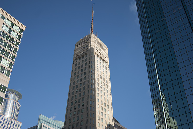 The Foshay Tower in downtown Minneapolis, Minnesota rises 447 above the streets with an antenna spire lifting its total height to 607 feet. Though it is currently dwarfed by other buildings in the skyline of Minneapolis, it remains as one of the most beautiful and once was one of the tallest in the world.