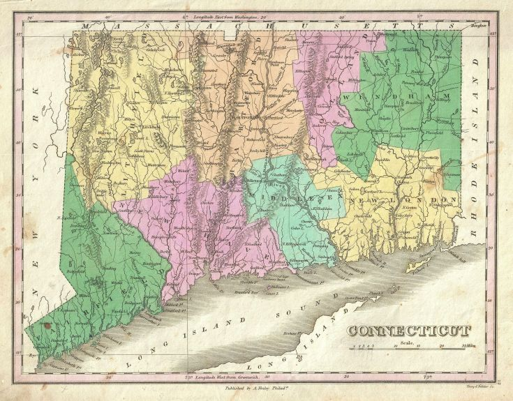 Antique Connecticut Map shows borders of state's counties
