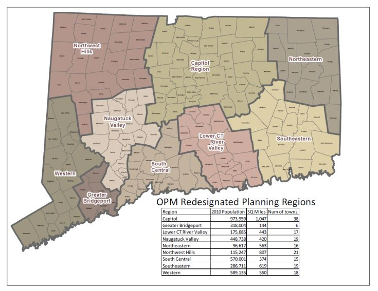 Connecticut map showing OPM Re-designated Planning Regions