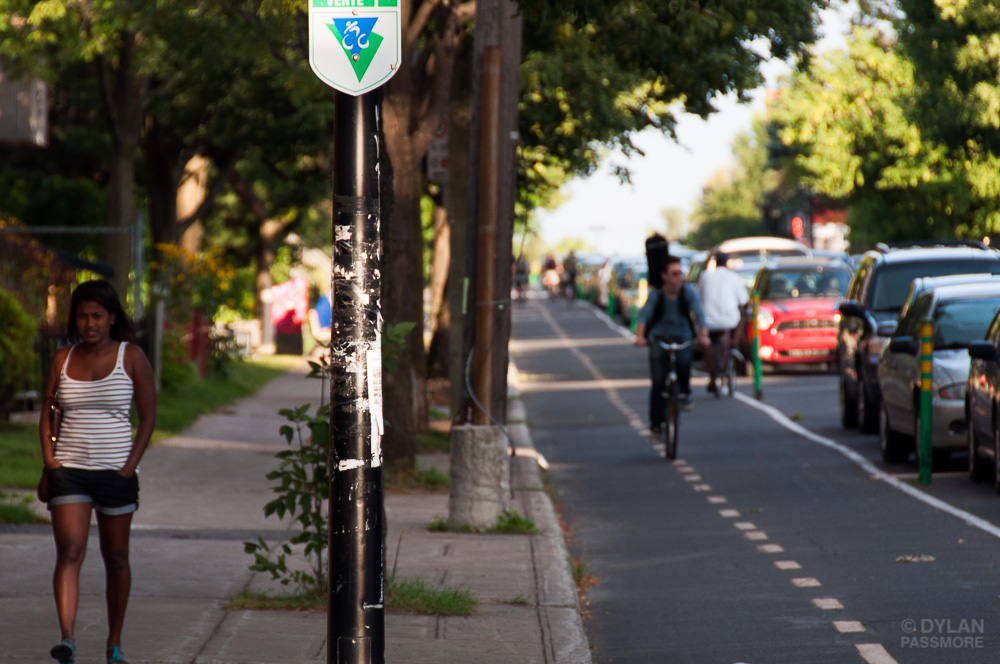Pedestrian and Cyclist on La Route Verte, Montreal, Quebec, Canada