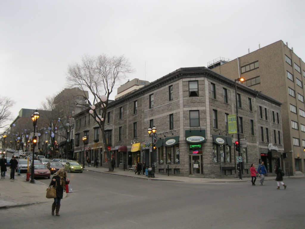 Intersection of Rue Saint Denis and Rue Ontario in Montreal, Canada