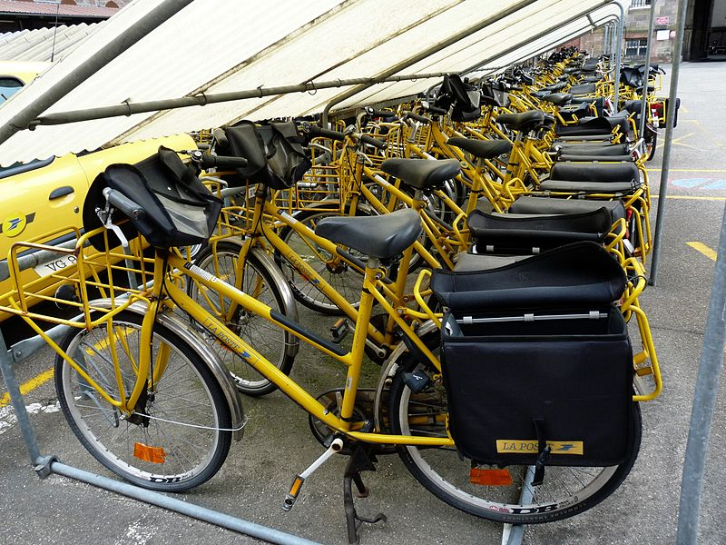 Yellow Fleet of French Postal Service Bikes, Strasbourg, France
