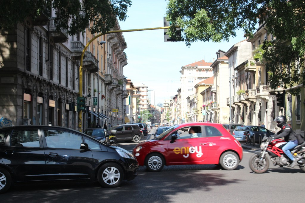 Enjoy car sharing vehicle seen in Milan, Italy