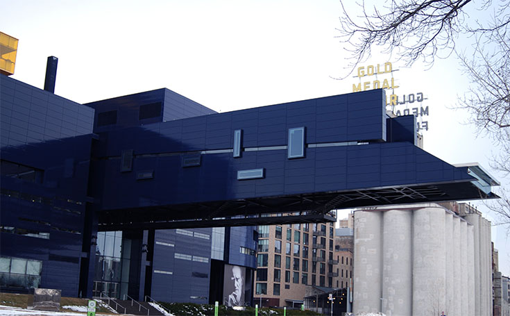 "The ""Endless Bridge"" emerges from the side of the Guthrie Theater. This 178-foot cantilever is one of the worlds largest, and also gives stunning views of the Mississippi and surrounding landmarks."
