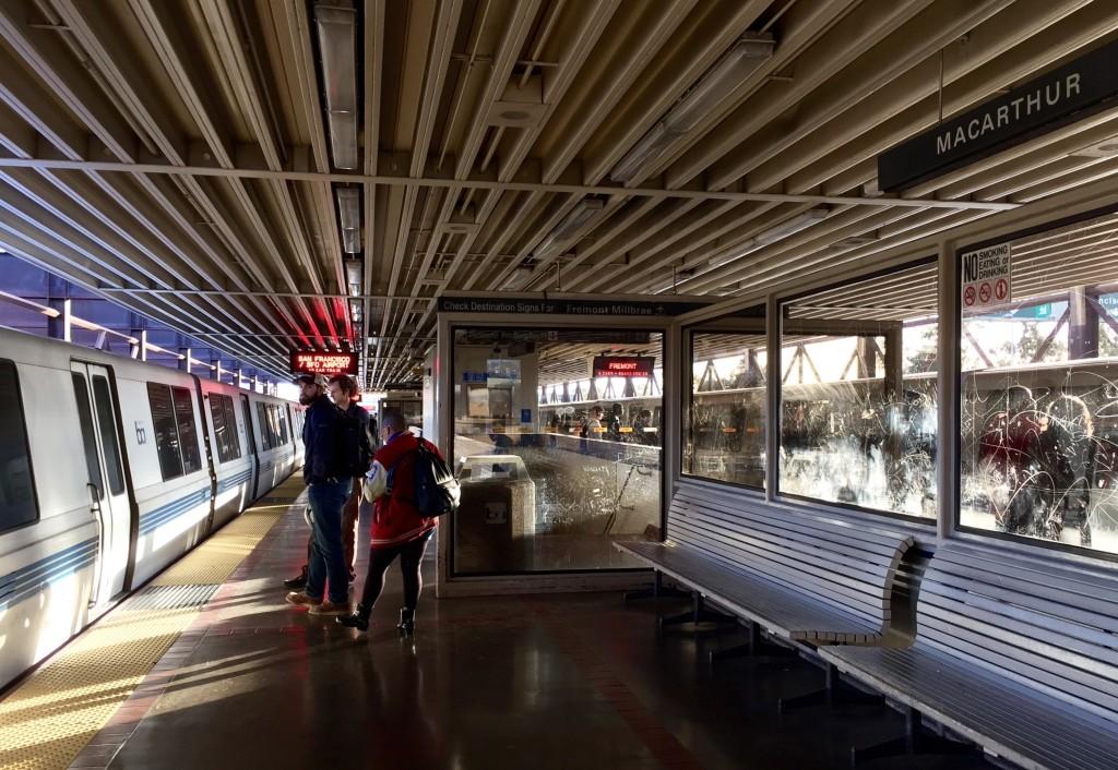 MacArthur BART station platform, Oakland, California