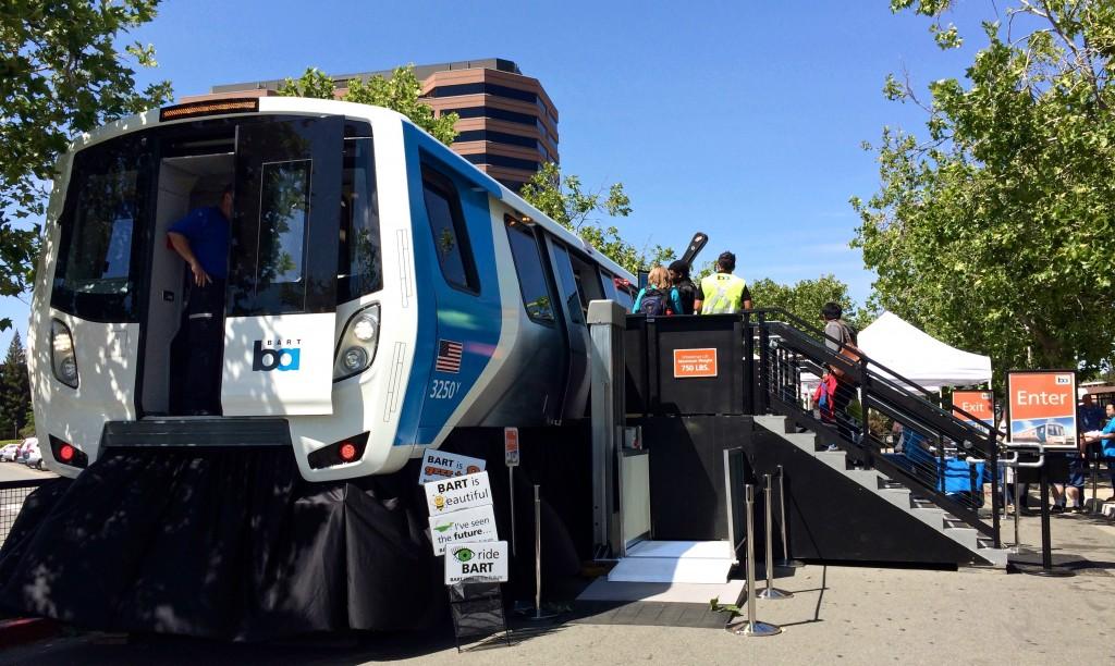 New BART car public viewing, San Francisco, California