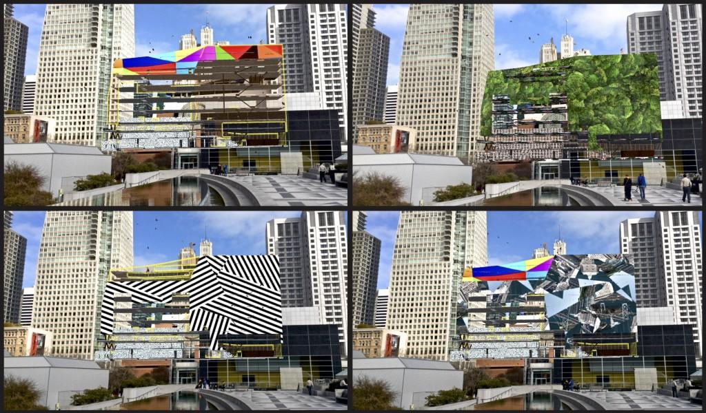 SFMOMA Augmented Reality App montage, downtown San Francisco, California