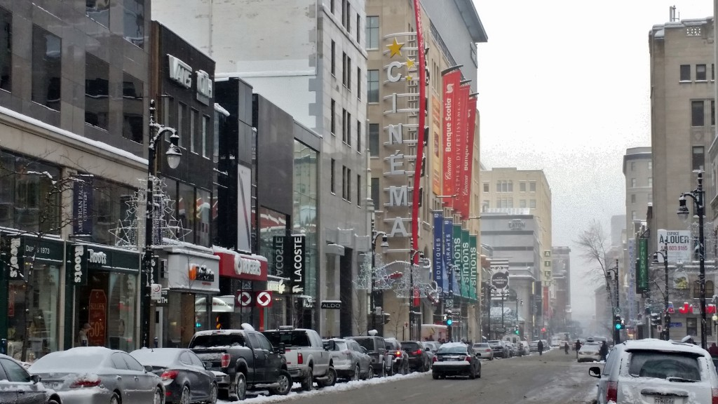 Ste Catherine Street and Peel, Montreal, Quebec, Canada