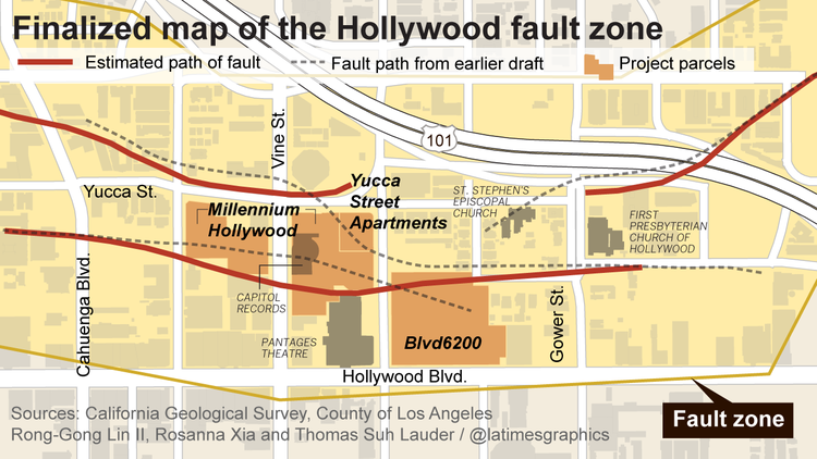 Map of the Hollywood fault zone from Los Angeles Times