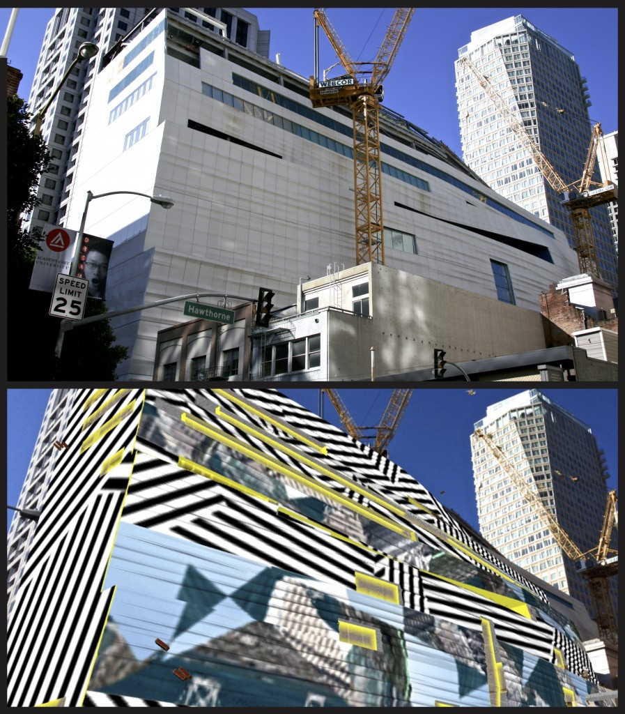 SFMOMA construction with augmented reality app, San Francisco, California.